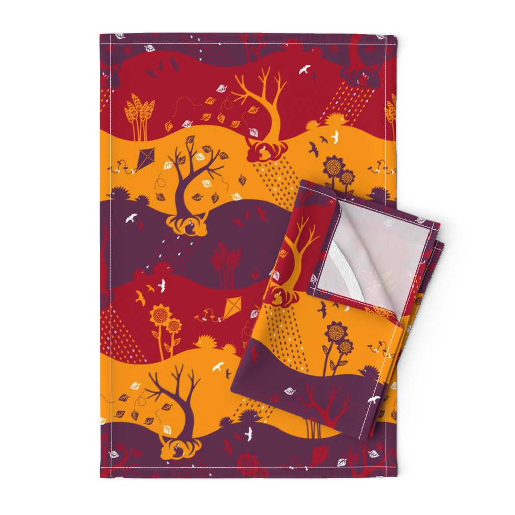 Orpington Tea Towels featuring Autumn Silhouettes (please zoom for details) by annosch