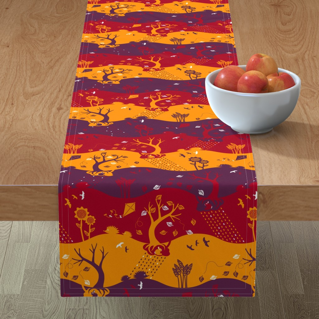 Minorca Table Runner featuring Autumn Silhouettes (please zoom for details) by annosch
