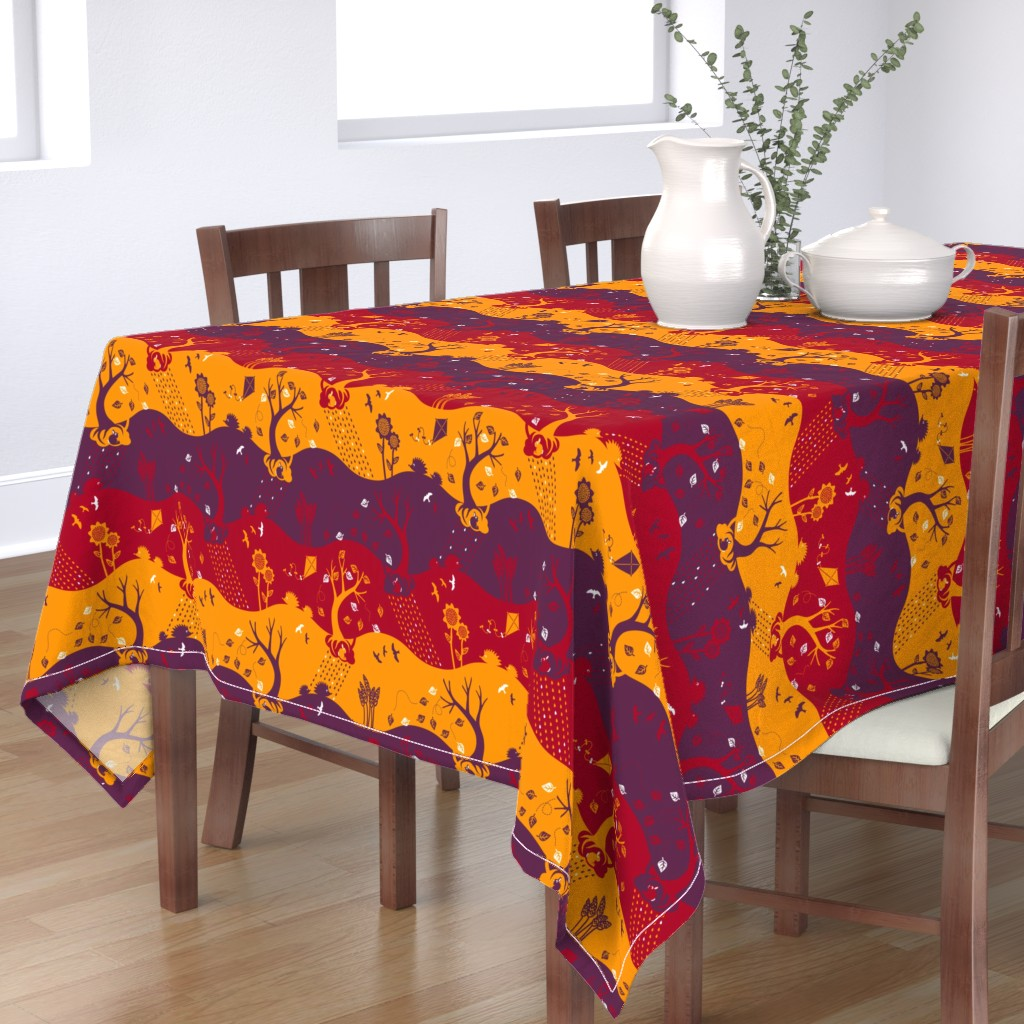 Bantam Rectangular Tablecloth featuring Autumn Silhouettes (please zoom for details) by annosch