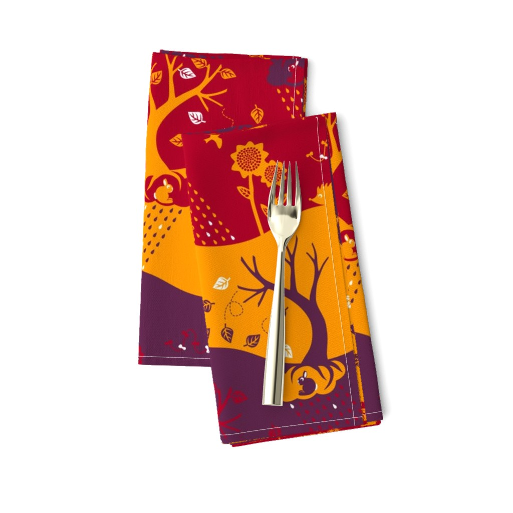 Amarela Dinner Napkins featuring Autumn Silhouettes (please zoom for details) by annosch