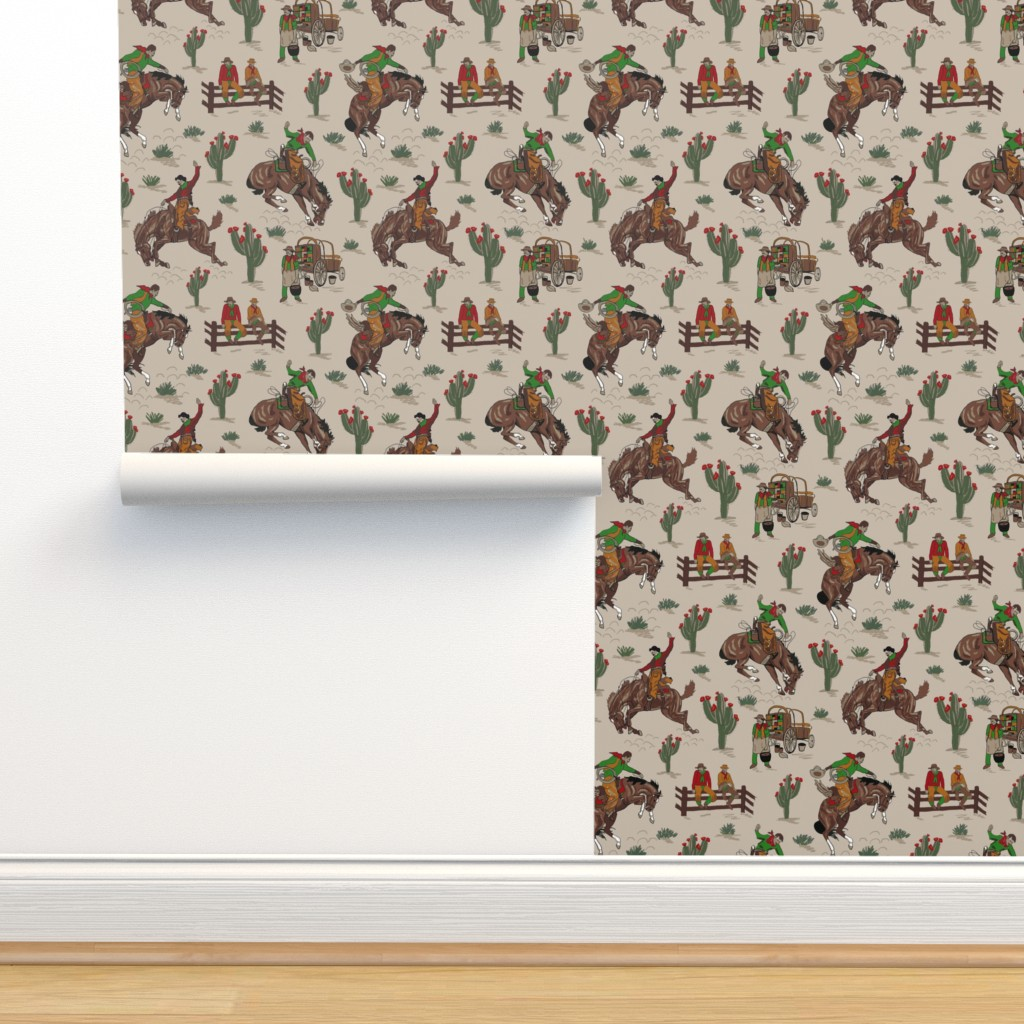 Isobar Durable Wallpaper featuring tan cowboys 12x12 by leroyj