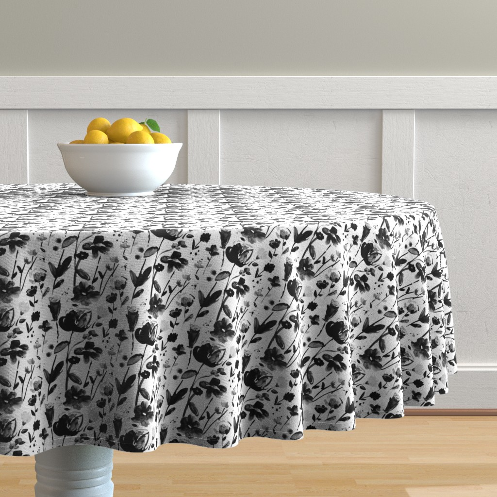 Malay Round Tablecloth featuring black floral watercolor by alison_janssen