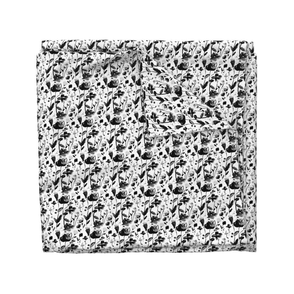 Wyandotte Duvet Cover featuring black floral watercolor by alison_janssen