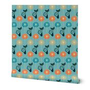 Removable Water-Activated Wallpaper Cats Cat Retro Atomic Starburst Diamond