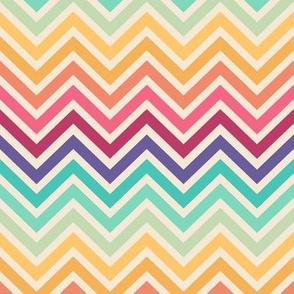 Retro rainbow chevron stripes