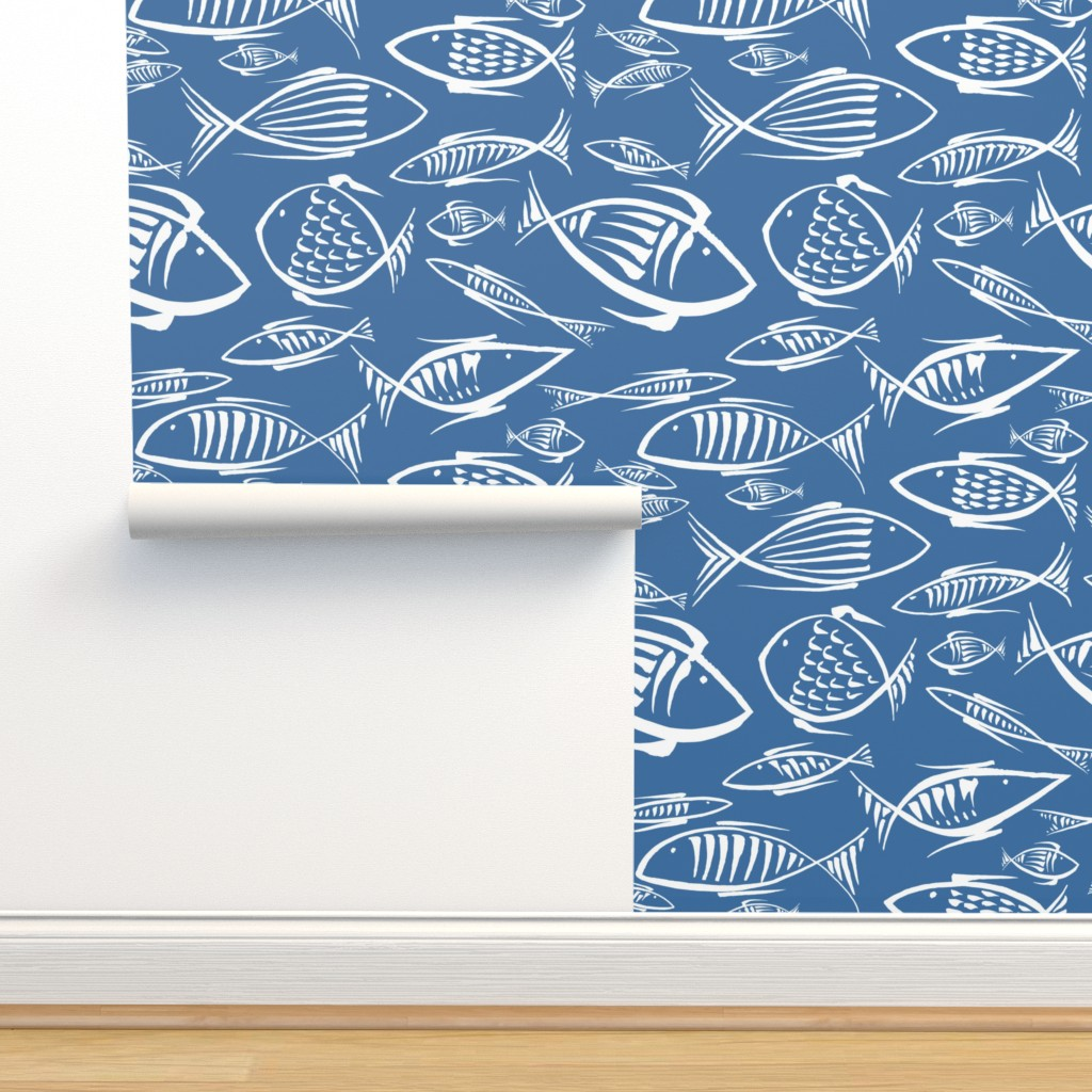 Isobar Durable Wallpaper featuring fishes navy by chicca_besso