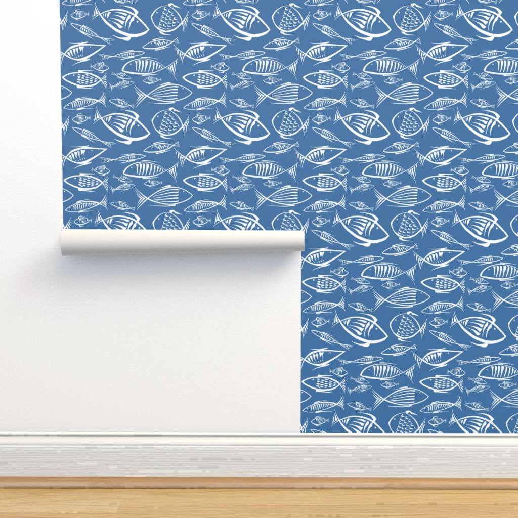 Isobar Durable Wallpaper featuring fishes navy50  by chicca_besso