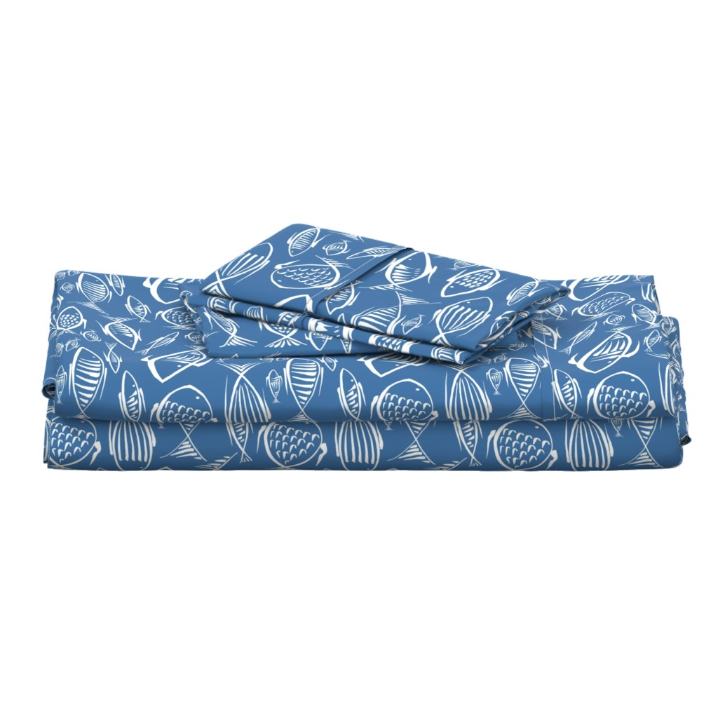 Langshan Full Bed Set featuring fishes navy50  by chicca_besso
