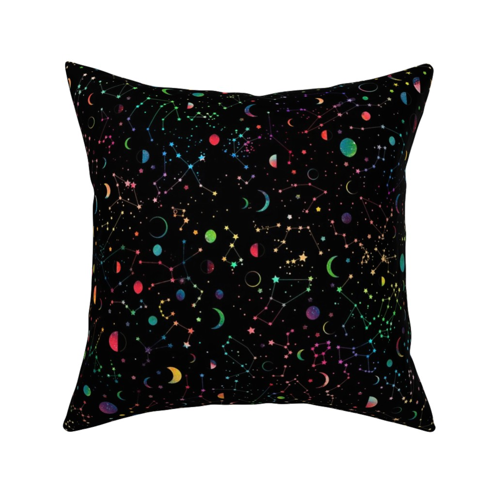 Catalan Throw Pillow featuring Rainbow Constellations and Moons - black background by emeryallardsmith