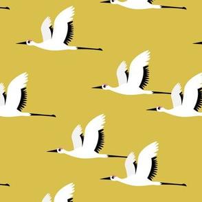 Summer is coming and so are the birds sweet Scandinavian minimal style crane bird flock mustard yellow gender neutral