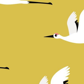 Summer is coming and so are the birds sweet Scandinavian minimal style crane bird flock mustard yellow gender neutral jumbo