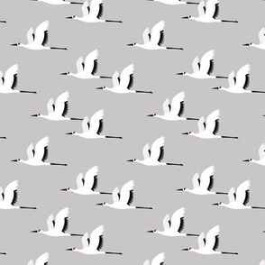 Summer is coming and so are the birds sweet Scandinavian minimal style crane bird flock gray small