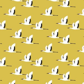 Summer is coming and so are the birds sweet Scandinavian minimal style crane bird flock mustard yellow gender neutral small