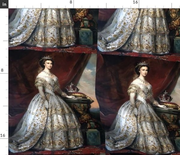 Fabric By The Yard Queens Princesses Crowns White Gold Gowns Bridal Bride Tiaras Gilt Roses Baroque Victorian Wedding Marriage Coronation Beauty Royal