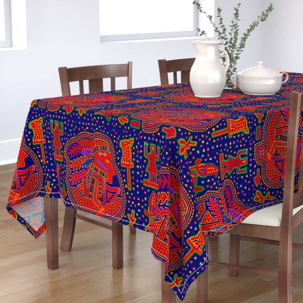 Bantam Rectangular Tablecloth featuring African Batik Quilt by vagabond_folk_art