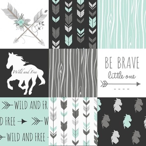 Horse Patchwork - Be Brave - Aqua, Black, Grey, White