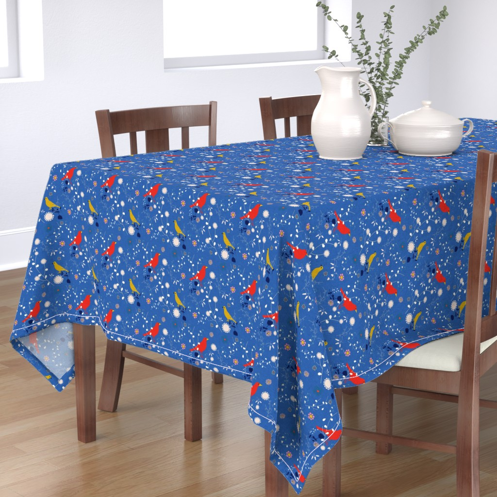 Bantam Rectangular Tablecloth featuring Bird  and blooms blue by bruxamagica