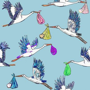 Stork & Baby Special Delivery in Blue