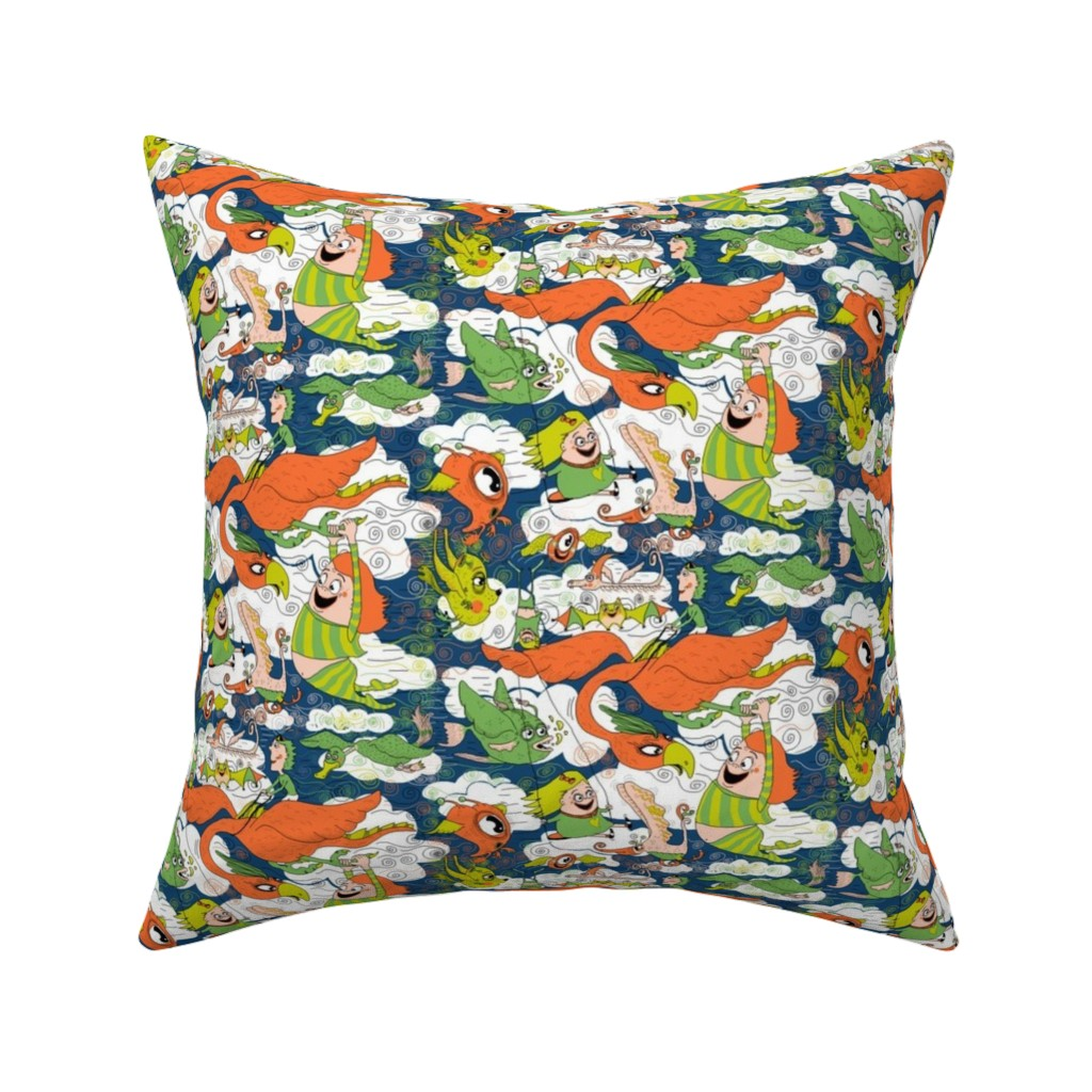 Catalan Throw Pillow featuring animals creatures by air with kids, large scale, orange green lime chartreuse teal blue white by amy_g