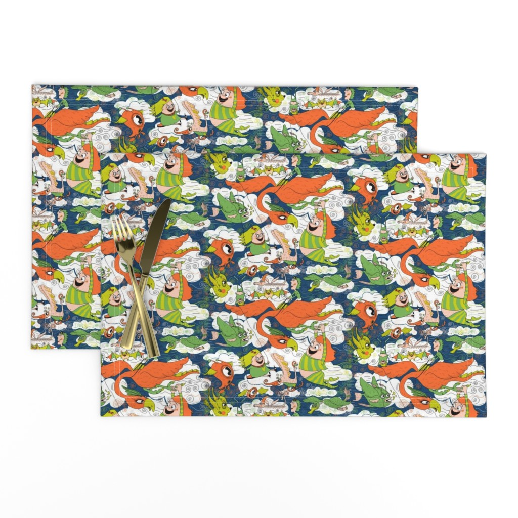 Lamona Cloth Placemats featuring animals creatures by air with kids, large scale, orange green lime chartreuse teal blue white by amy_g