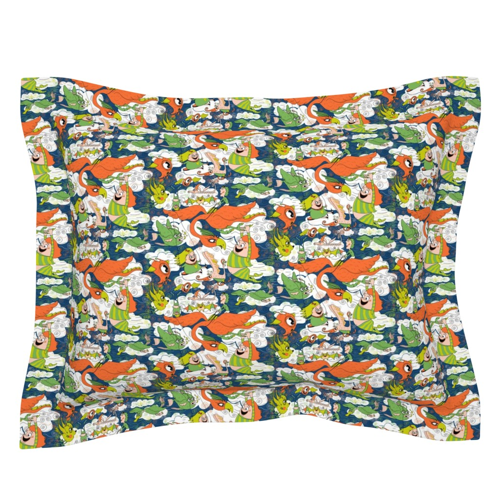 Sebright Pillow Sham featuring animals creatures by air with kids, large scale, orange green lime chartreuse teal blue white by amy_g
