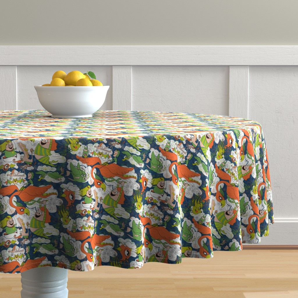 Malay Round Tablecloth featuring animals creatures by air with kids, large scale, orange green lime chartreuse teal blue white by amy_g