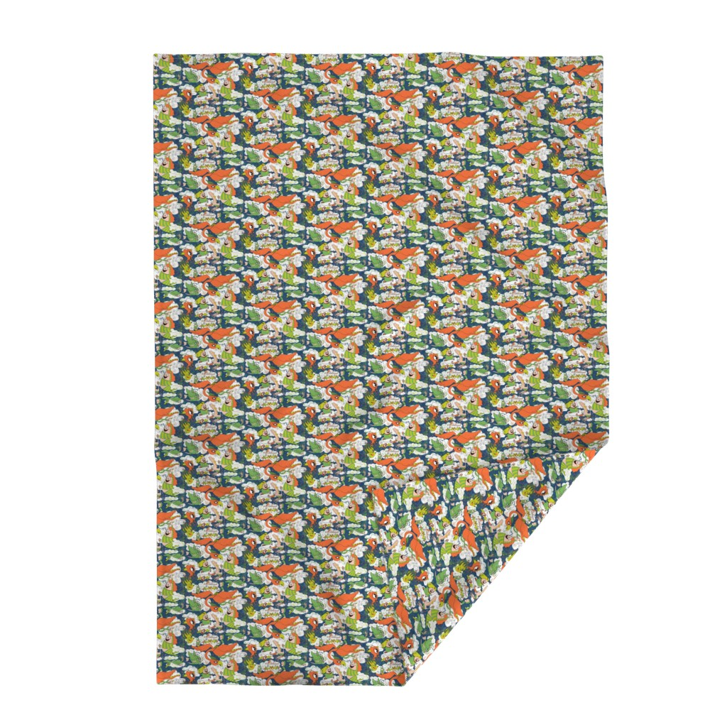Lakenvelder Throw Blanket featuring animals creatures by air with kids, large scale, orange green lime chartreuse teal blue white by amy_g