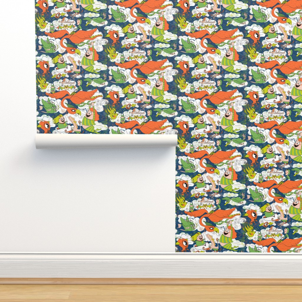 Isobar Durable Wallpaper featuring animals creatures by air with kids, large scale, orange green lime chartreuse teal blue white by amy_g