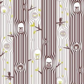 Autumn Owl Tree Stripe