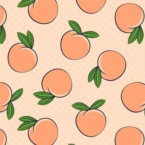 peaches -  polka dots on peach