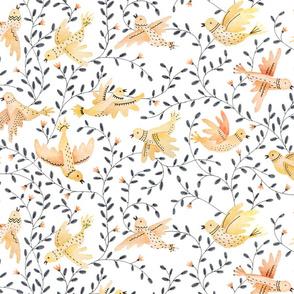 birds through the air