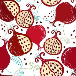 Pomegranate seamless pattern II white