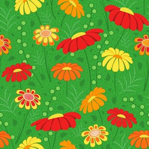 Colorful Flowers - Green Background