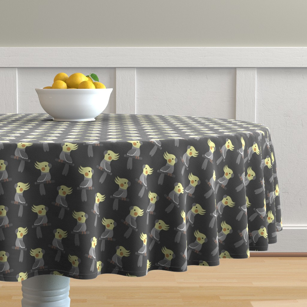 Malay Round Tablecloth featuring Cute cockatiel by petitspixels
