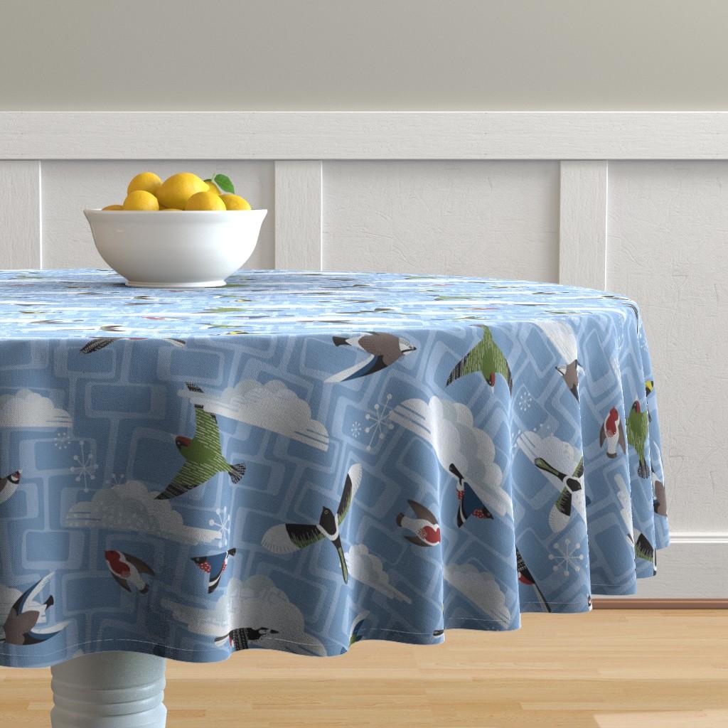 Malay Round Tablecloth featuring Mid Century Garden Birds by harrietharkerdesigns