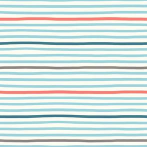 wavy stripes aqua blue