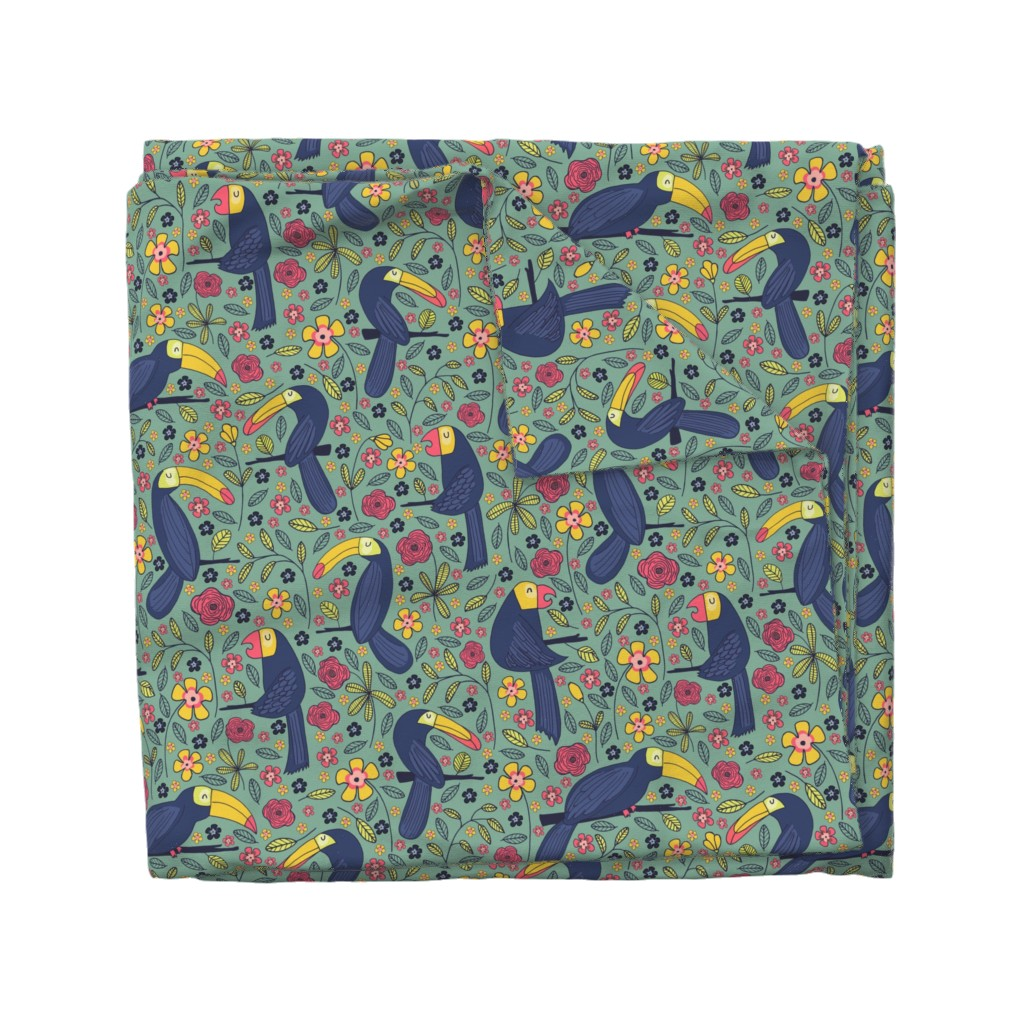 Wyandotte Duvet Cover featuring Pattern #83 - Toucans and parrots tropical dream  by irenesilvino