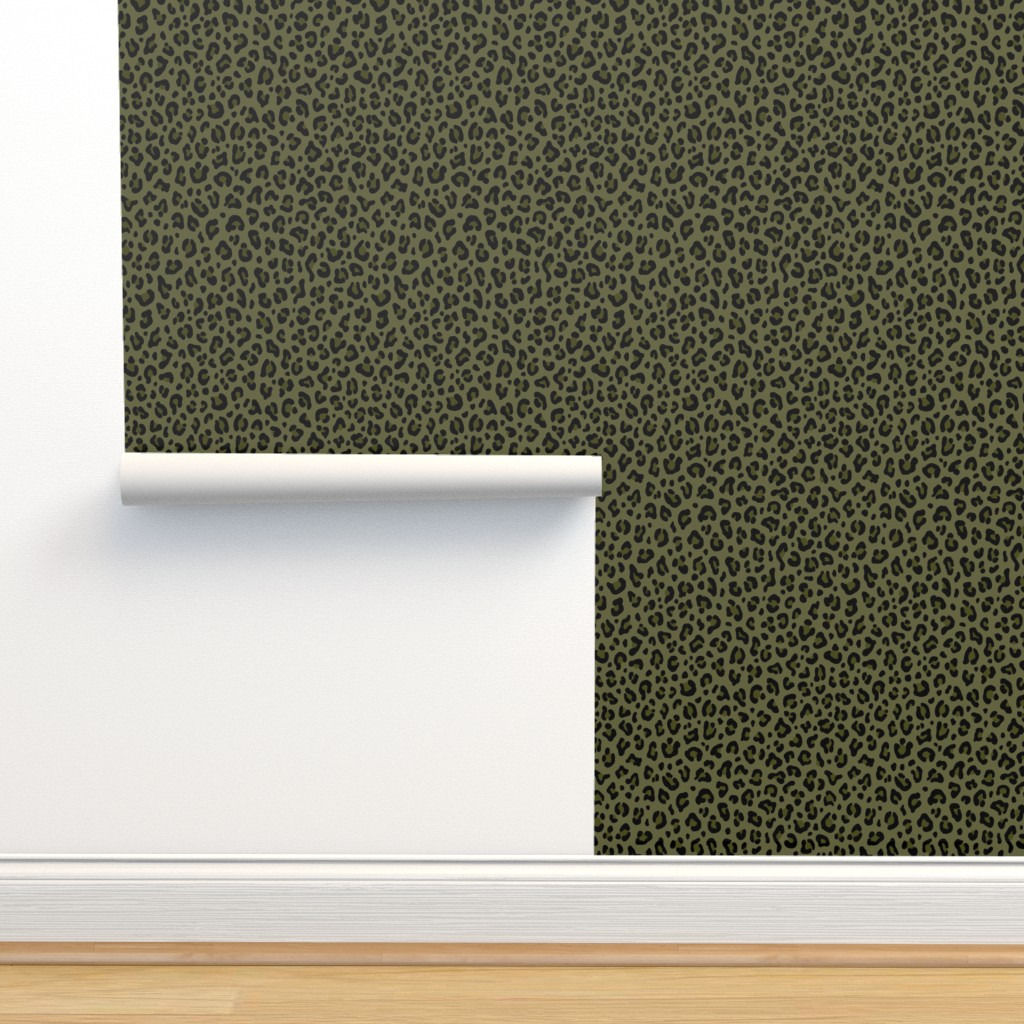 Isobar Durable Wallpaper featuring ★ CAMO LEOPARD - LEOPARD PRINT in OLIVE GREEN ★ Medium Scale / Collection : Leopard spots – Punk Rock Animal Print by borderlines