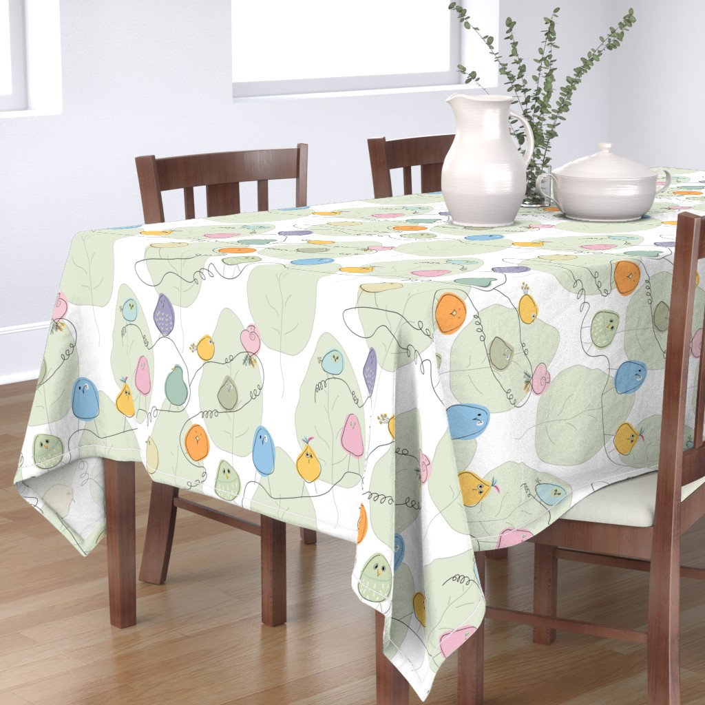 Bantam Rectangular Tablecloth featuring Birds on a crooked line by goatfeatherfarm