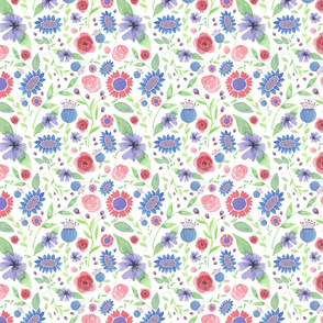 Red and Blue-Violet Floral pattern