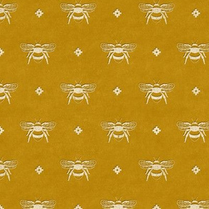 Bee Stamped Emblem on Mustard Gold