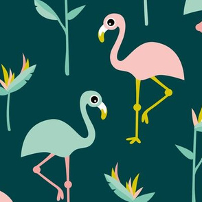 Birds of paradise botanical flower garden and flamingo beach Hawaii summer theme mustard teal jumbo