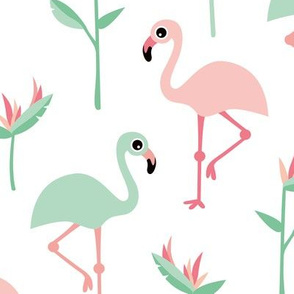 Birds of paradise botanical flower garden and flamingo beach Hawaii summer theme pink mint jumbo