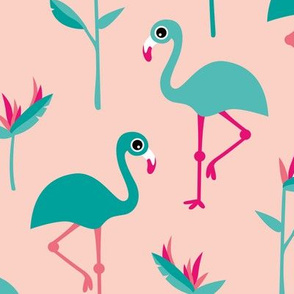 Birds of paradise botanical flower garden and flamingo beach Hawaii summer theme pink jumbo