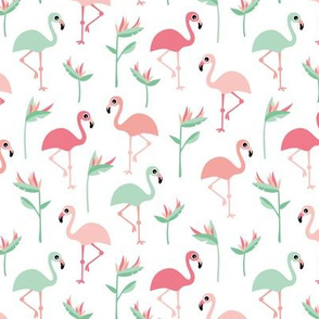 Birds of paradise botanical flower garden and flamingo beach Hawaii summer theme pink mint