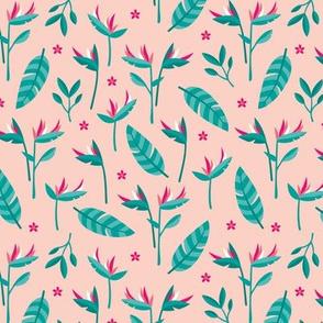 Birds of paradise botanical flower garden Hawaii summer theme pink blue