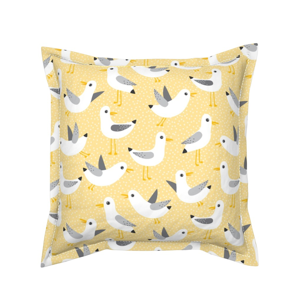 Serama Throw Pillow featuring seagulls on yellow by heleenvanbuul