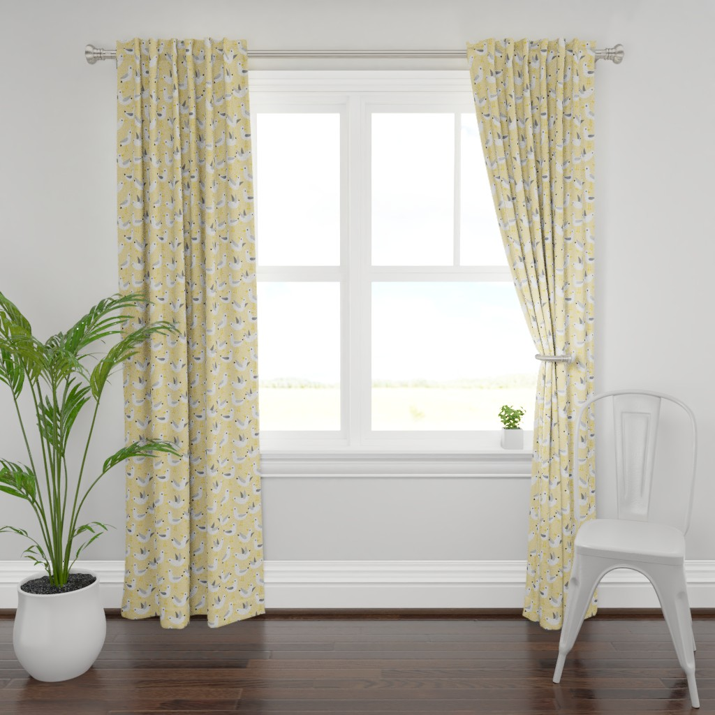 Plymouth Curtain Panel featuring seagulls on yellow by heleenvanbuul