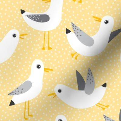 Beach Yellow Sand Summer Animals Sea Cloth Placemats by Spoonflower Birds Placemats - Seagulls On Yellow by heleenvanbuul Set of 4