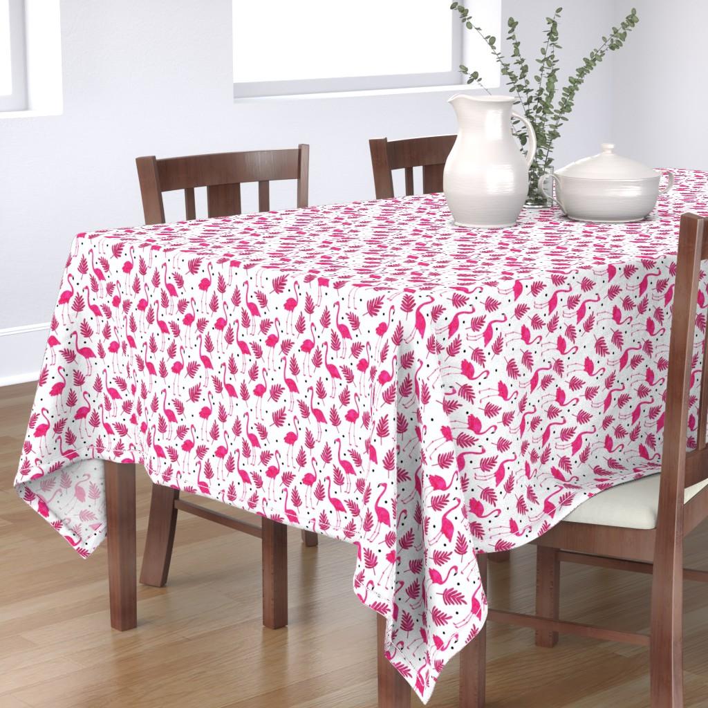 Bantam Rectangular Tablecloth featuring Flamingos  by scarlette_soleil